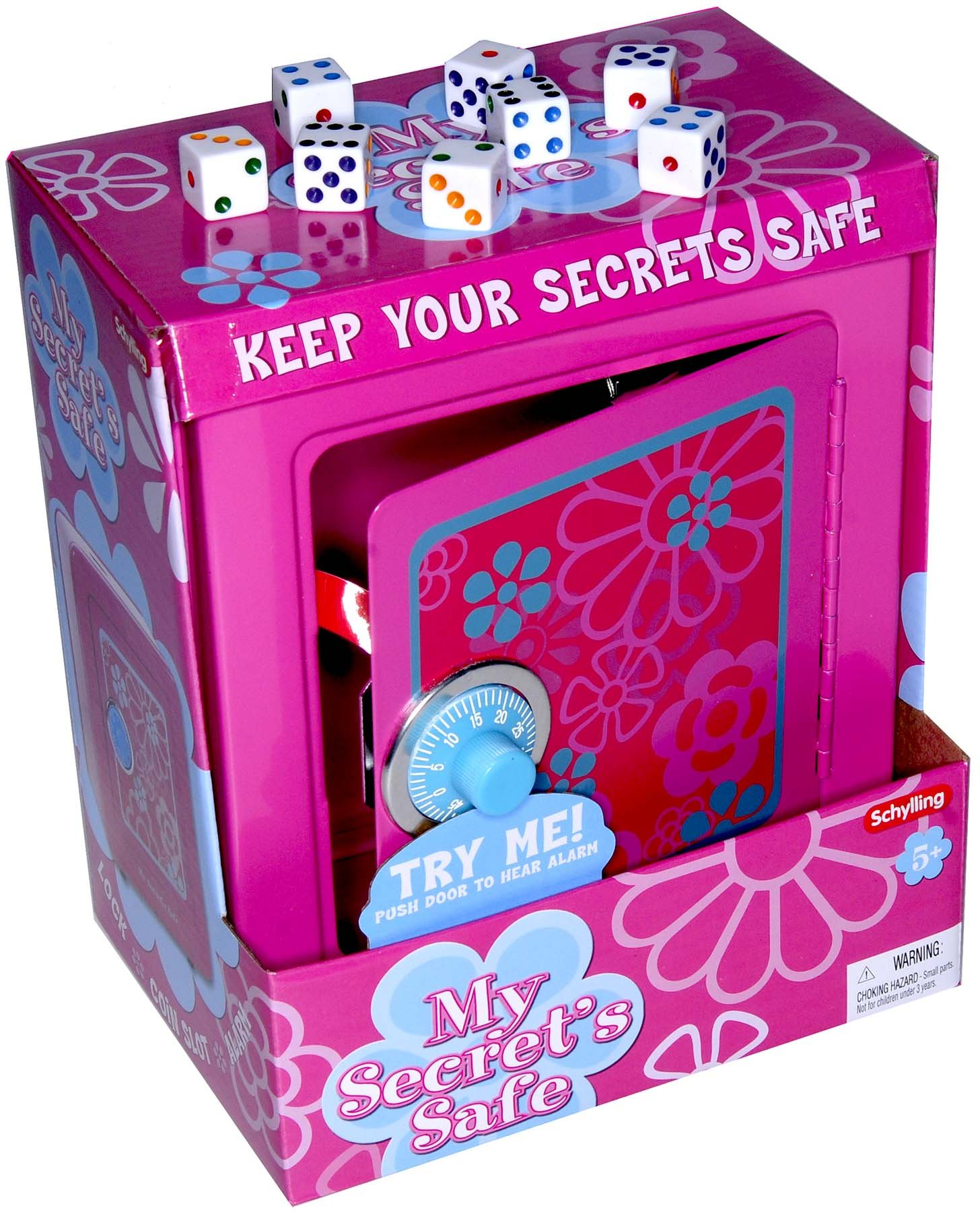 Girls Pink Play Steel Safe_ with Combination Lock, Alarm and Coin Slot_ Bonus 8 White Dice D6 Game Dice _ Bundled Items by Deluxe Games and Puzzles (Image #1)