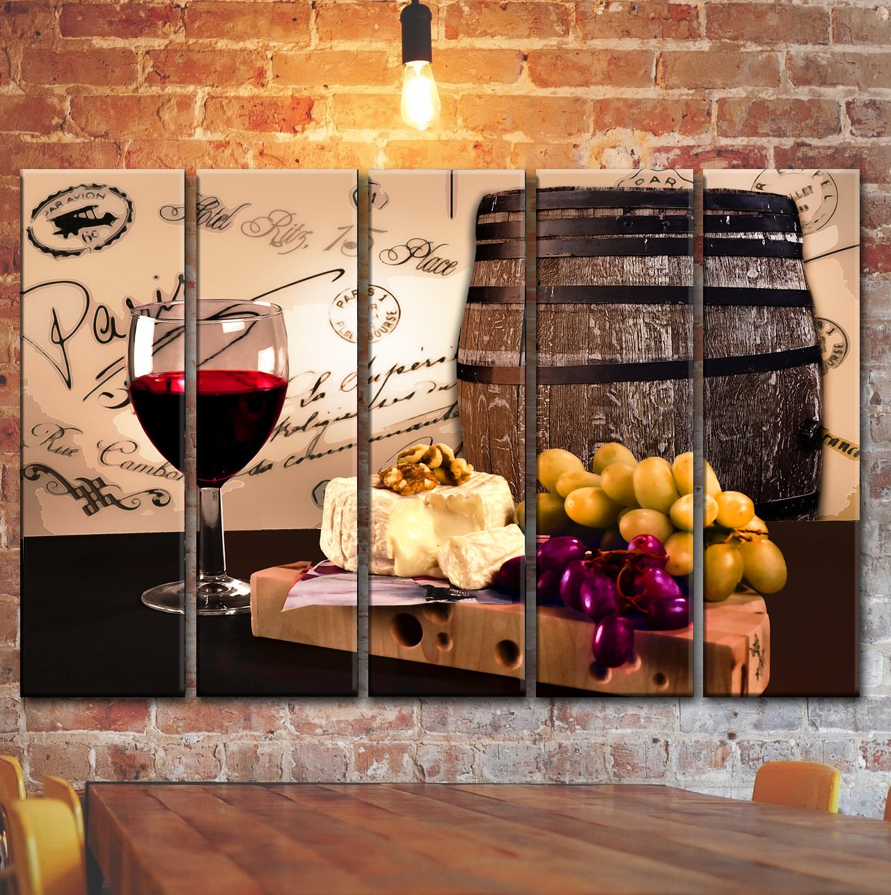 Big Colorful Wine Barrel Bottle Glass Wall Art Decor / Kitchen Decoration