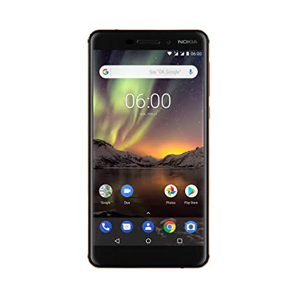 Nokia 6.1 Version 2018 Smartphone (13,97 cm (5,5 Zoll) IPS Full-HD Display, Dual SIM, 32GB ROM, 3GB RAM, 16MP Rückkamera, 8MP Frontkamera, Android 8 Oreo, NFC) schwarz/ kupfer