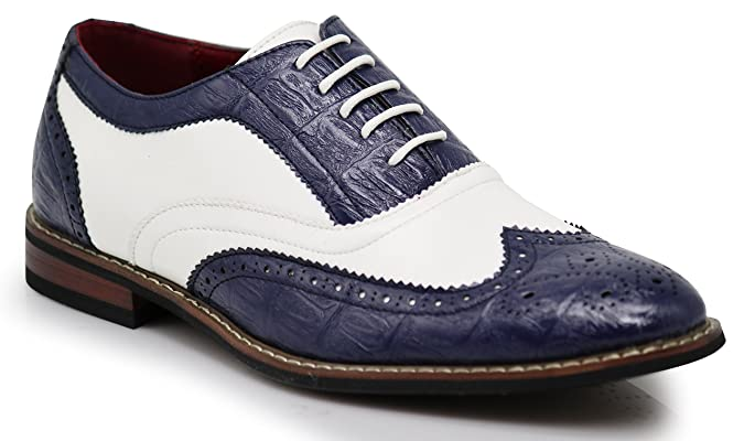 Mens Retro Shoes | Vintage Shoes & Boots Mens Dress Oxfords Shoes Italy Modern Designer Wingtip Captoe 2 Tone Lace Up Shoes $34.99 AT vintagedancer.com