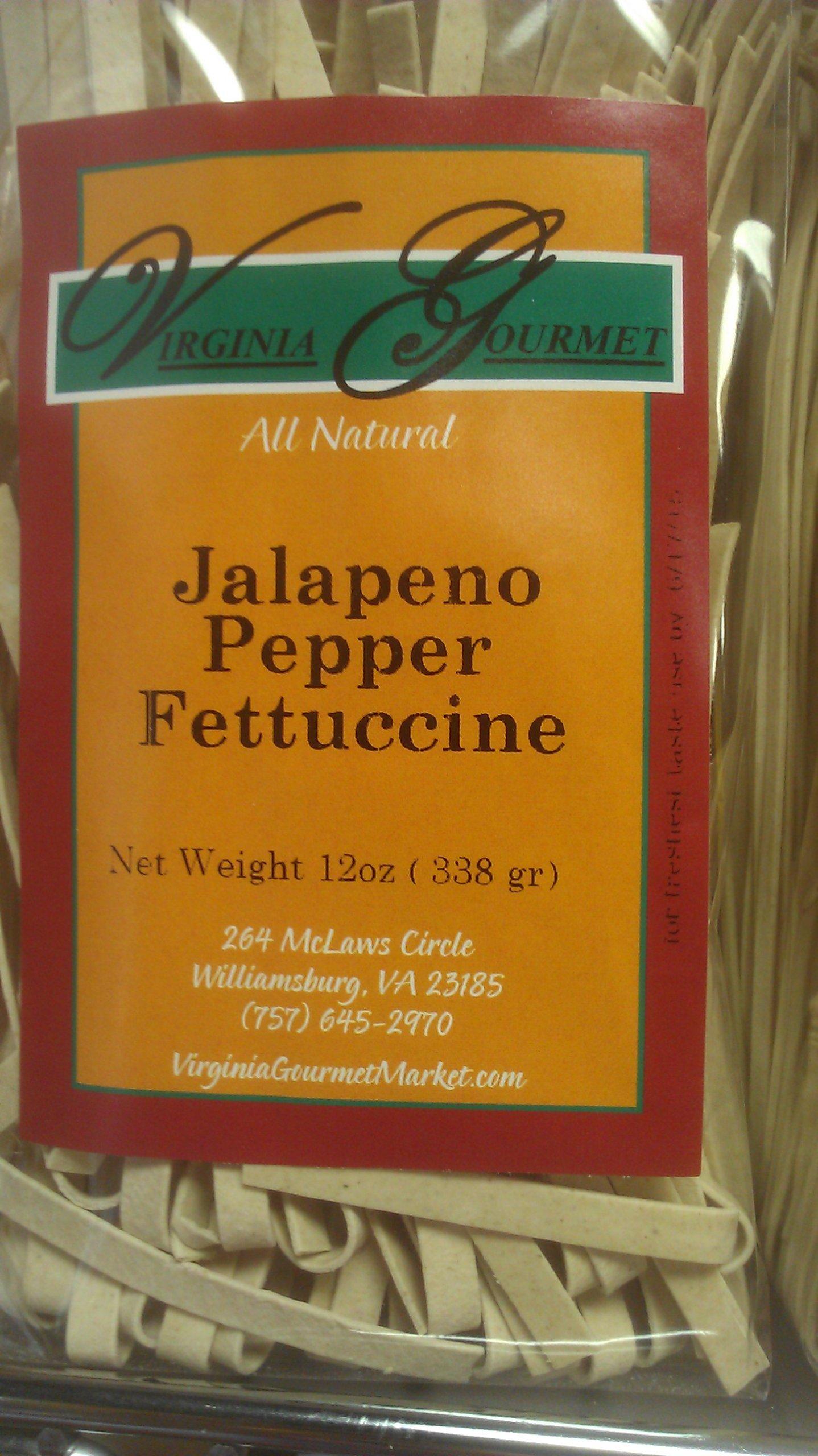 Virginia Gourmet Jalapeno Pepper Fettuccine-6 PACK- All Natural Vegan Pasta Unbleached Wheat Flour , Jalapeno pepper, Water