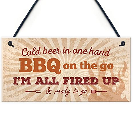 Mr.sign BBQ On The Go Cartel de Pared Madera Placa Madera ...