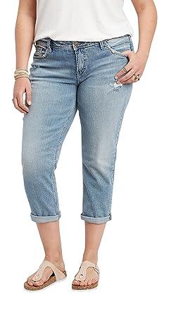 9551f250 Silver Jeans Co.. Women's Plus Size Elyse Light Wash Capri 16 Light  Sandblast