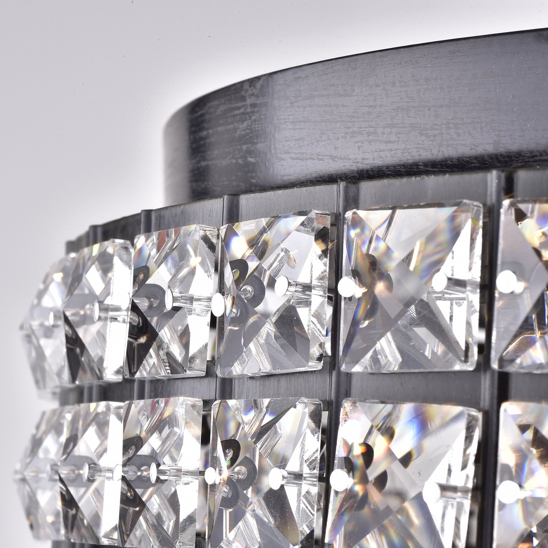 Amazon.com: Antique negro sombra de carga 4 Light Crystal ...