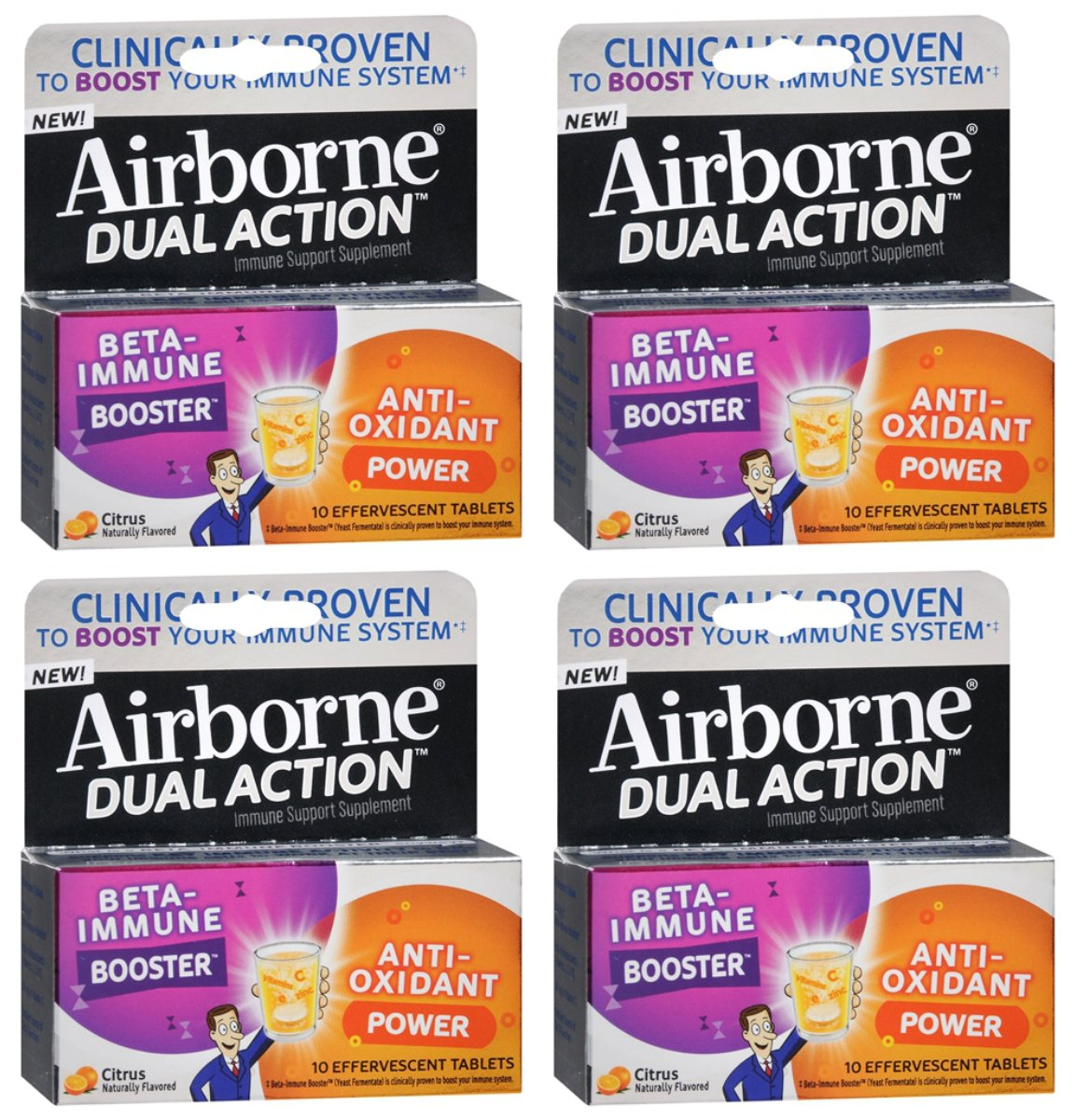 Pack of 4 Airborne Dual Action Beta Immune Booster & Anti-Oxidant Immune Support Supplement, Citrus Effervescent Tablets, 10 Count Each for total of 40 tablets
