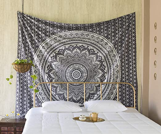Silver Ombre Mandala Tapestry Room Wall Hangings Home Decorative Indian Boho Tapestries Hippie Art