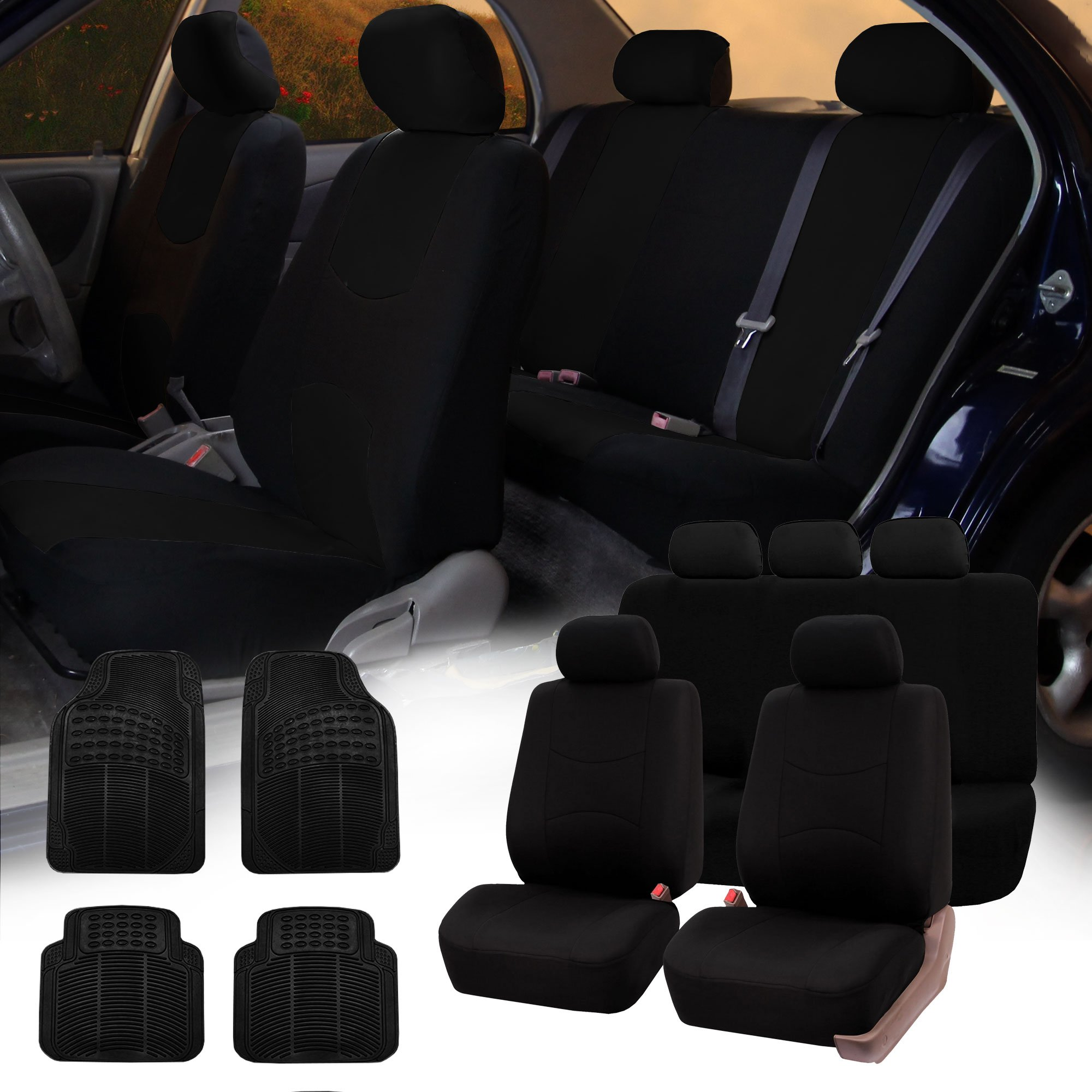 FH GROUP FH-FB051115 + R11305 Combo Set: Black Multifunctional Flat Cloth Car Seat Covers, Airbag Compatible and Split Ready and Black Rubber Floor Mats