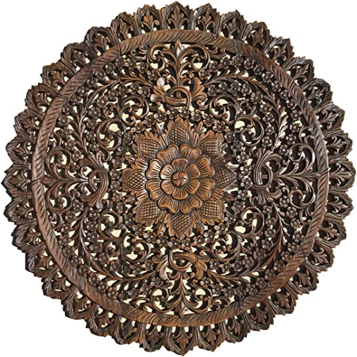 Bali Wood Carved Wall Art Panels. Large Round Wood Wall Decor. Floral Wood Wall Hanging .36″x36″x0.5″ Brown