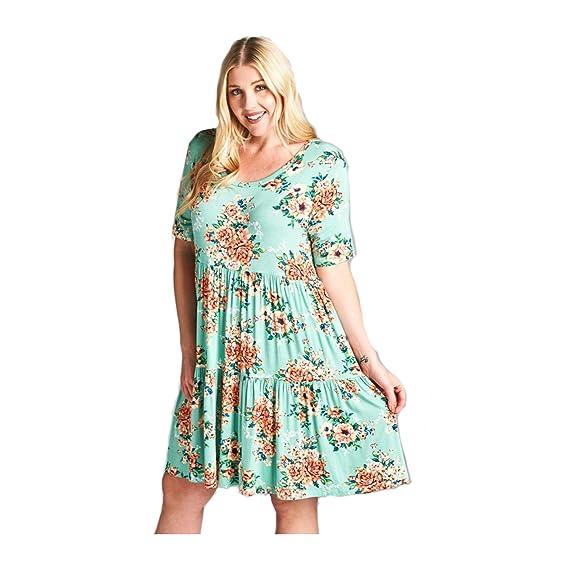 Oddi Womens Sage Floral Print Short Sleeve Babydoll Dress Plus