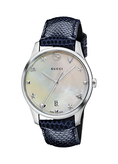 225a25185c464 Gucci Women's 36mm Lizard Leather Band Case Quartz MOP Dial Watch ...