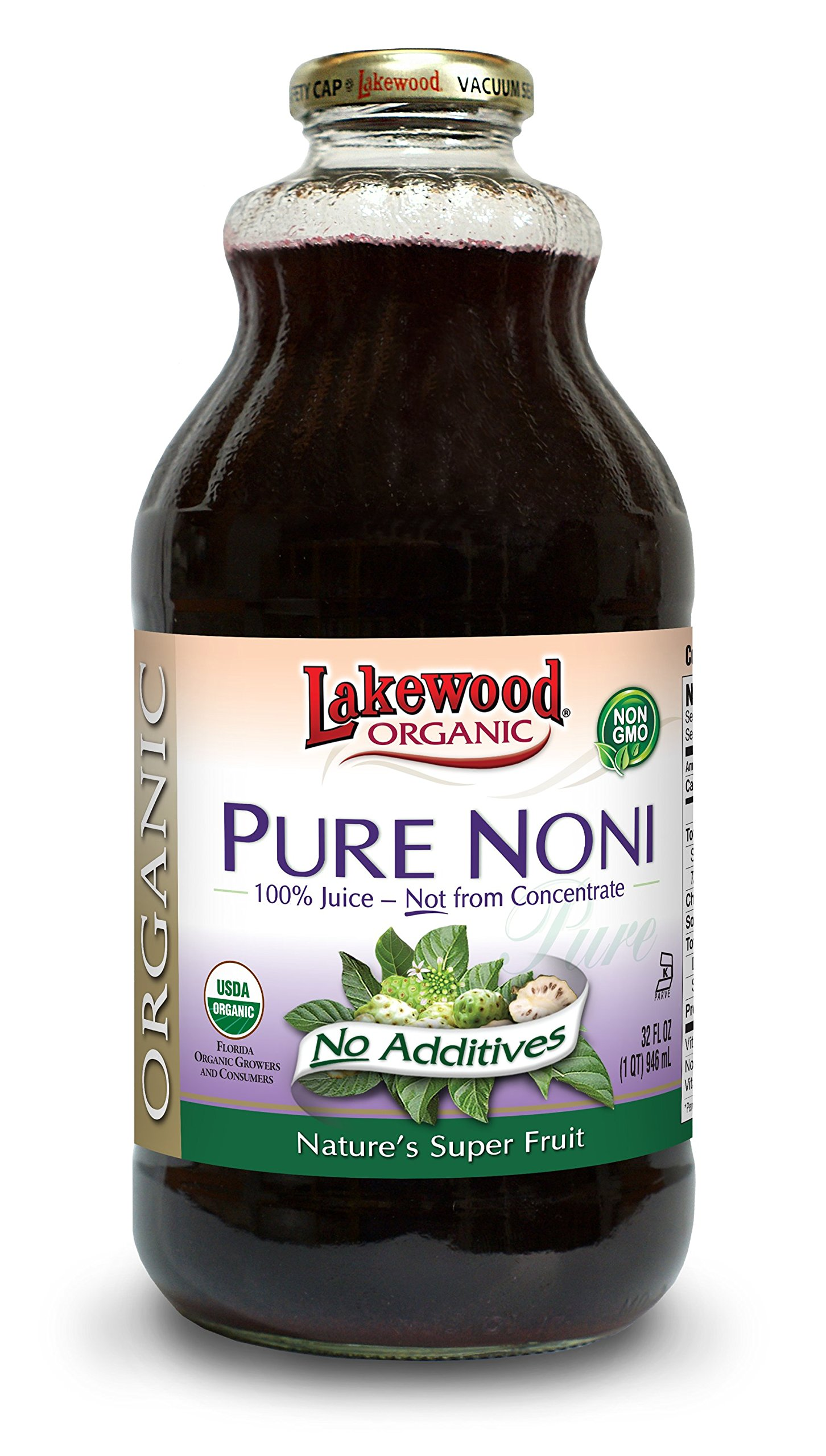 Lakewood Organic PURE Noni Juice, 32-Ounce Bottles (Pack of 6) by Lakewood