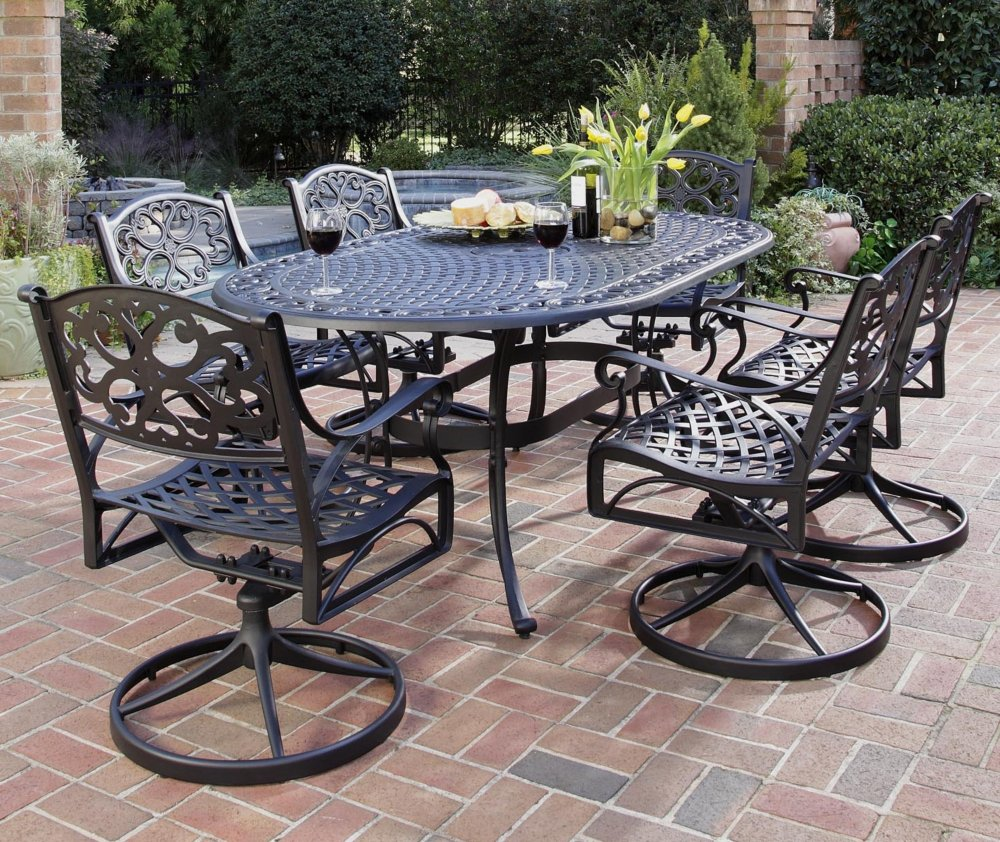 Amazoncom Home Styles Biscayne Piece Outdoor Dining - 7 piece outdoor dining set round table