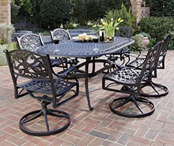 Charming Home Styles 5554 335 Biscayne 7 Piece Outdoor Dining Set, Black Finish