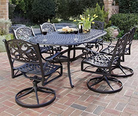 Home Styles 5554 335 Biscayne 7 Piece Outdoor Dining Set, Black Finish