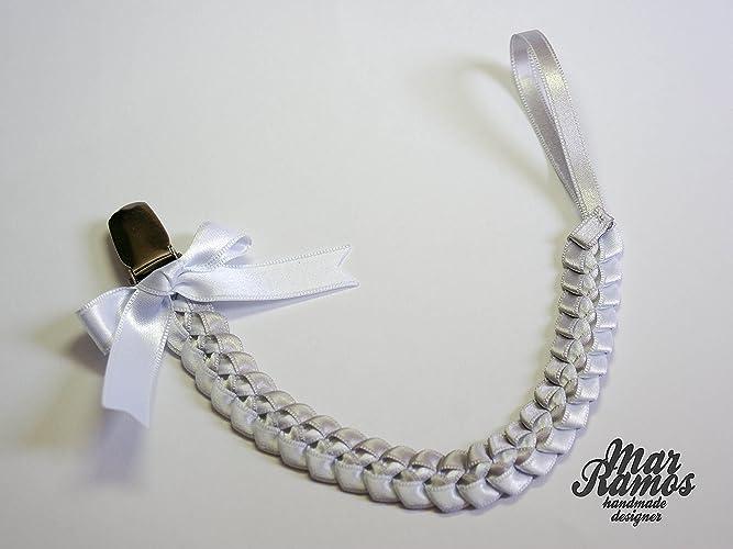 Chupetero trenzado gris y blanco: Amazon.es: Handmade