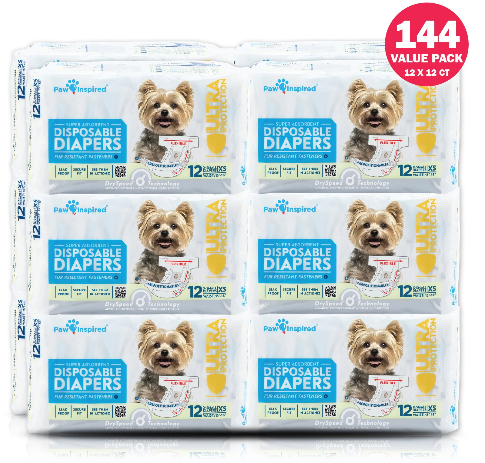 PAW INSPIRED Ultra Protection Female Disposable Dog Diapers Bulk (X-Small, 144 Count) by Paw Inspired