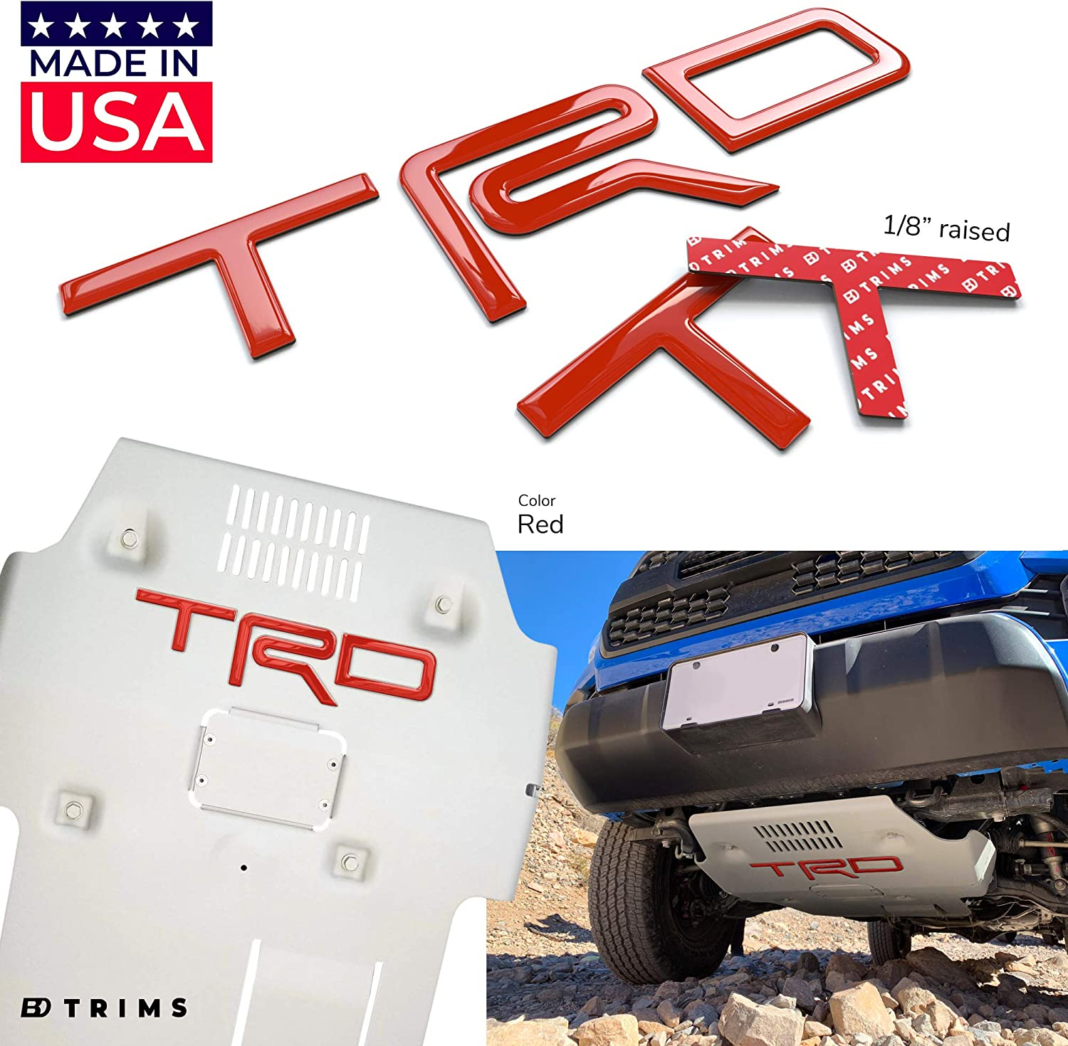 BDTrims Domed 3D Raised Letters Compatible with TRD Skid Plate 2016-2020 Tacoma and 2019-2020 4Runner Models Orange