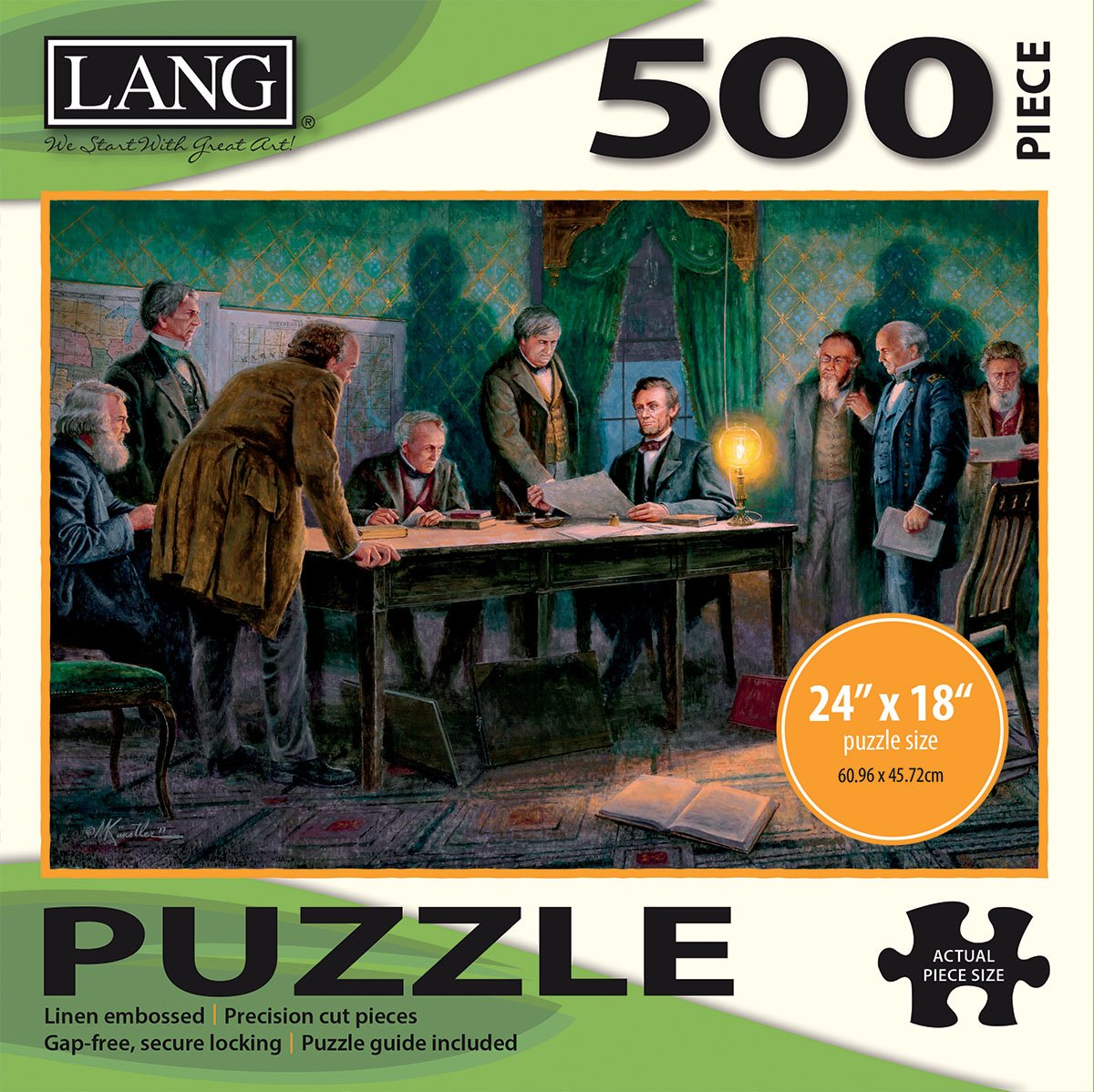 "Artwork by Mort Kunstler LANG Linen Finish 24/"" x 18/"" Completed The Lang Companies 5039113 500 Piece Puzzle -General Orders"