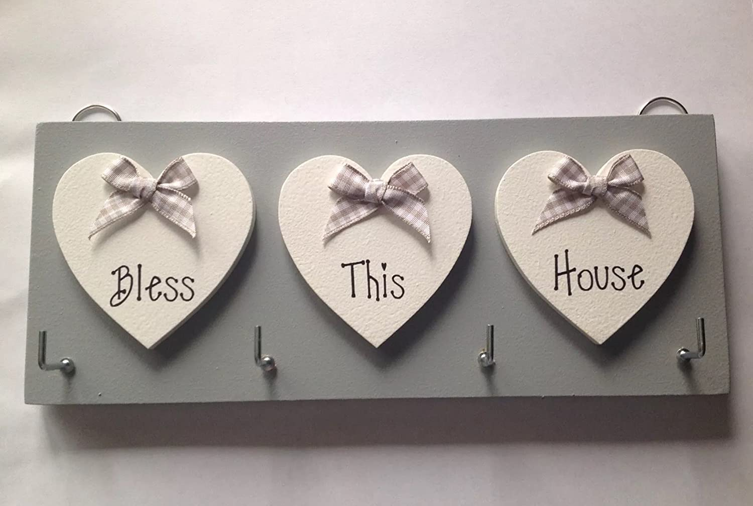 JDHL CRAFTS Key Holder Bless This House Grey 1a