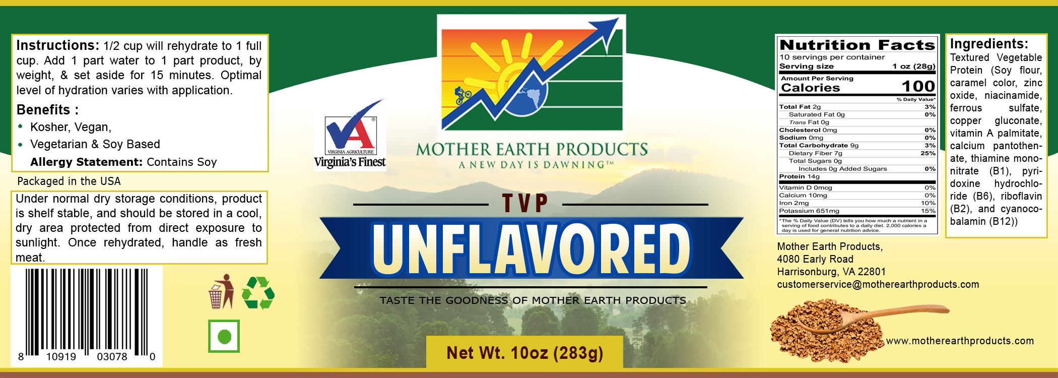Mother Earth Products Textured Vegetable Protein Unflavored, Quart Jar, 10 oz
