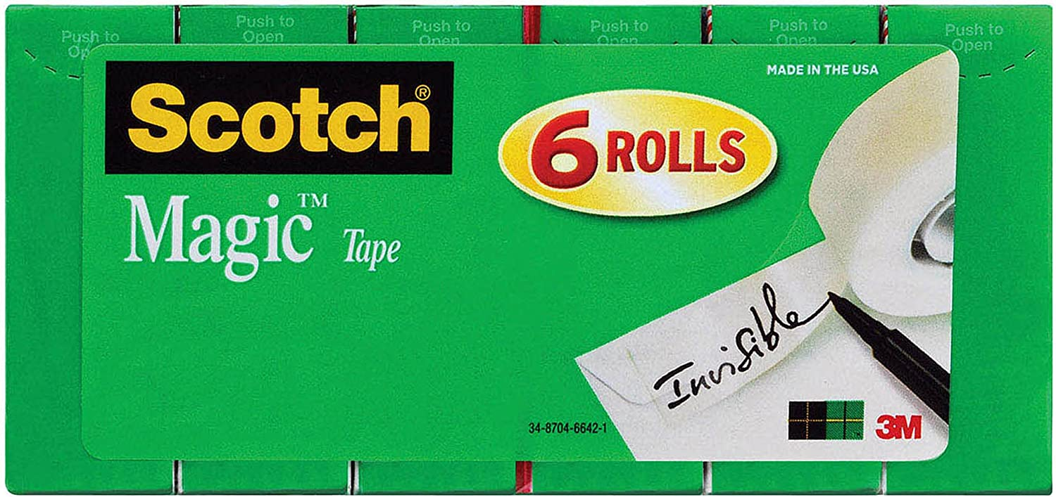Scotch Magic Tape, Standard Width, Engineered for Office and Home Use, Matte Finish, 3/4 x 1296 Inches, Boxed, 6 Refill Rolls (810-6PK)