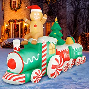 Amazon.com: Holidayana 10 ft Inflatable Christmas Train ... on Backyard Decorations Amazon id=40118