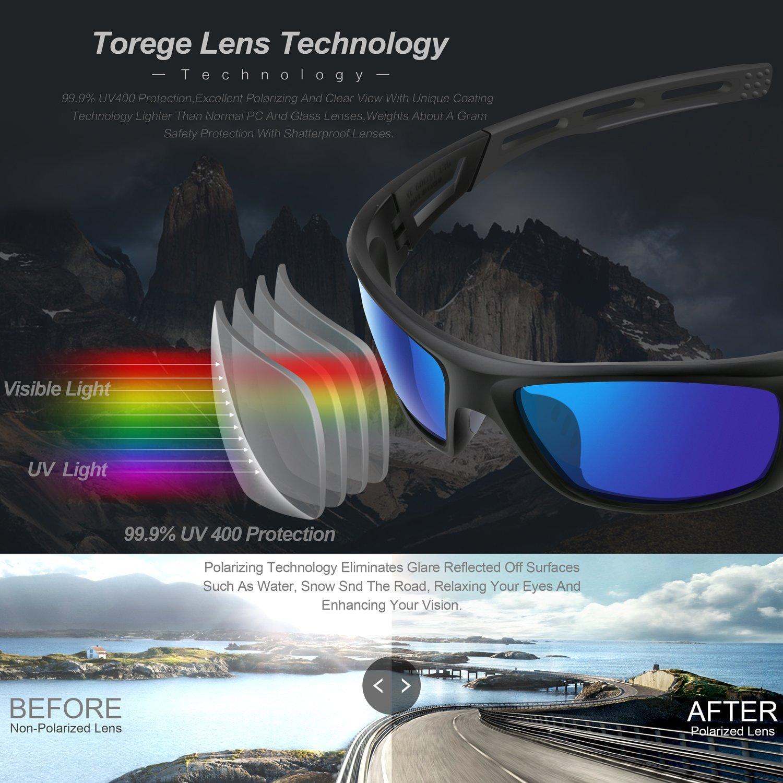 Amazon.com : TOREGE Polarized Sports Sunglasses for Men Women Cycling  Running Driving Fishing Golf Baseball Glasses EMS-TR90 Unbreakable Frame  TR007 (Black ...