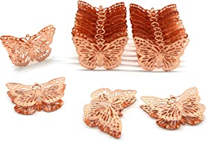 CVHOMEDECO. Rose Gold Metal Butterfly Decorations Hanging Decorative Butterflies Accessories for Home Bedroom Wedding Party Birthday Valentine's Day and Seasonal Décor, Set of 20.