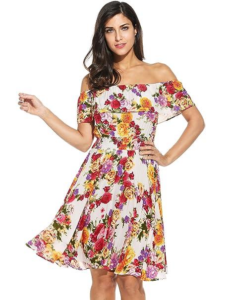 ddf2ba10a0 Meaneor Vestidos para mujer Cuello barco mini floral Manga corta para Verano   Amazon.es  Ropa y accesorios