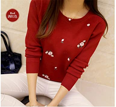Guncoi New Autumn Sweater Women Embroidery Knitted Winter Women