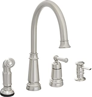 710 Bn Brushed Nickel 4 Hole Kitchen Faucet Touch On Kitchen Sink