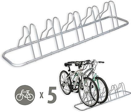 Silver SimpleHouseware 5 Bike Bicycle Floor Parking Adjustable Storage Stand