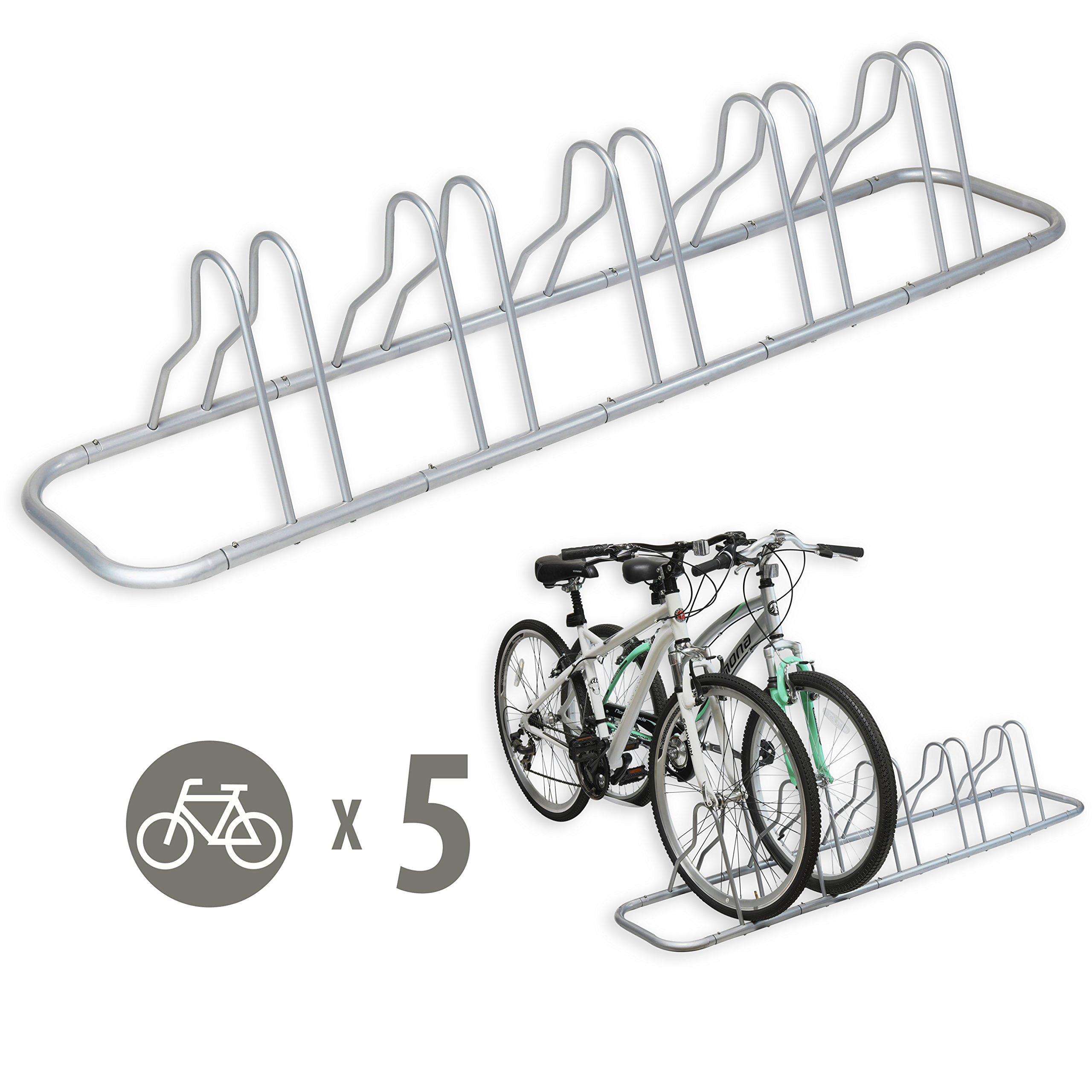 Simple Houseware 5 Bike Bicycle Floor Parking Adjustable Storage Stand, Silver by Simple Houseware (Image #1)