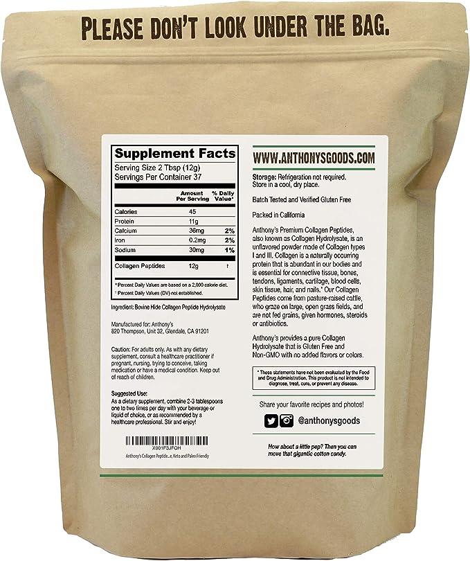 Anthonys Péptido de colágeno en polvo, 1 lb, hidrolizado puro, sin gluten, ceto y paleo