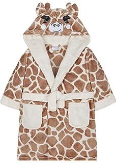 Girls Giraffe Dressing Gown Fleece Luxury Hooded Childrens Robe Brown Beige  Animal… dd11b28b7
