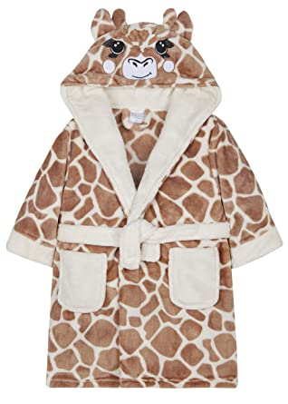 5a9d69e362 Girls Giraffe Dressing Gown Fleece Luxury Hooded Childrens Robe Brown Beige Animal  Print Size 2 3 4 5 6 7 8 9 10 11 12 13 Years  Amazon.co.uk  Clothing