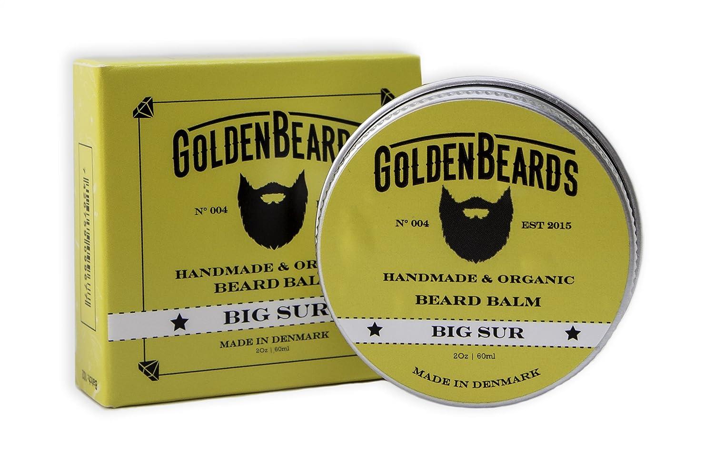 Bio Barba Bálsamo–Big Sur–60ml Goldene Bigotes   100% Natural   & Jojoba Argan & albaricoque aceite & Path ouli, lavanda y cal, todos los productos son hecha a mano Golden Beards BS60ML