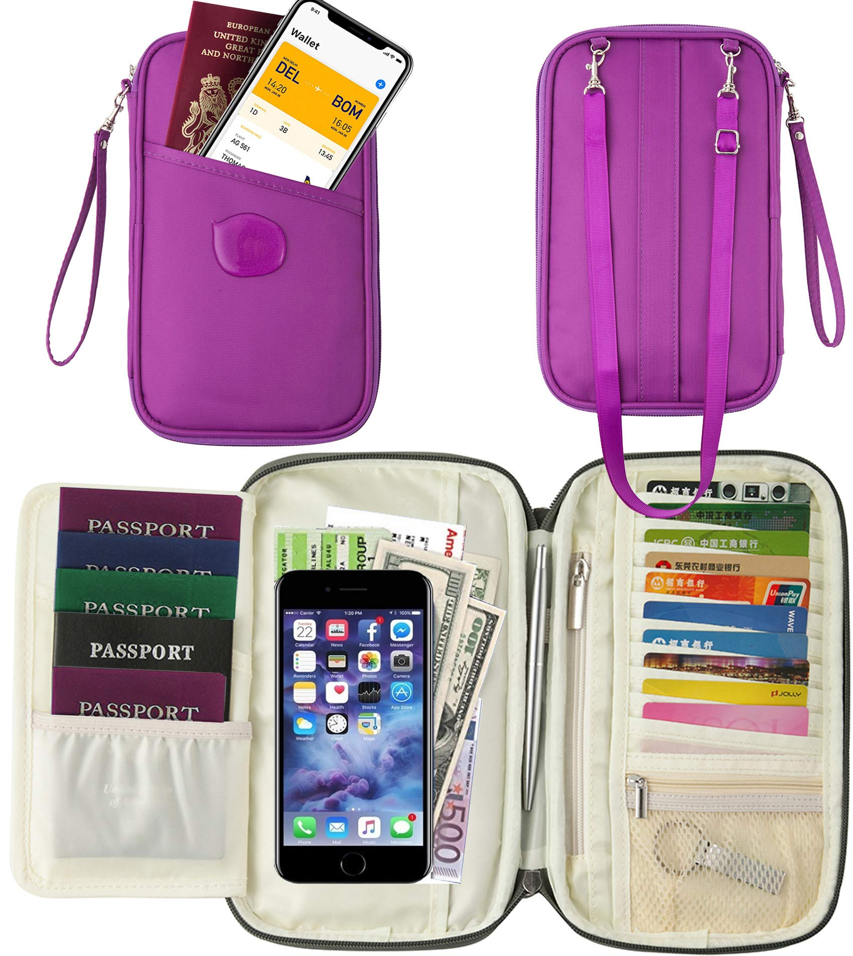 Passport Wallet Holder for Men&Women, w/RFID Blocking Document Holder Organiser Purple Travel Wallet Phone Card Case Secured Holiday Money Pouch with Designer Luggage Belt Strap (fashion purple)