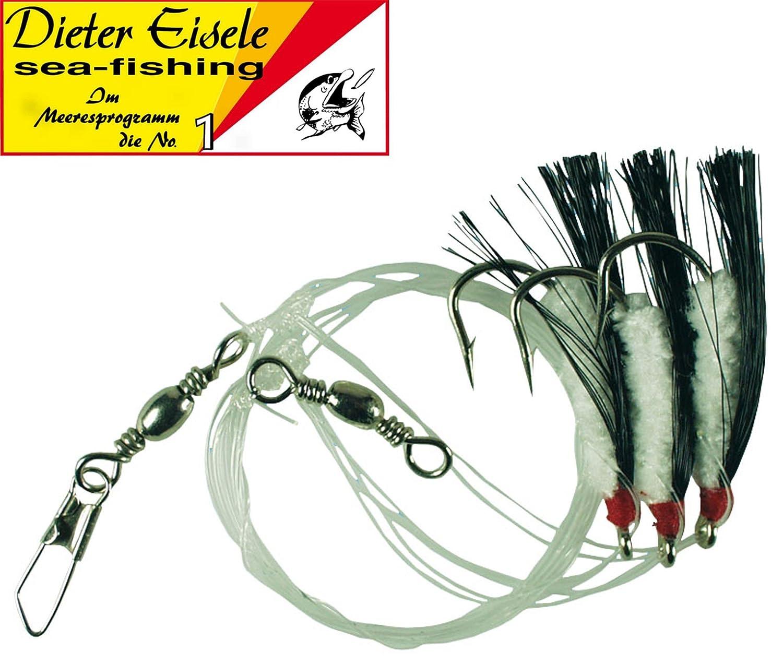 Dieter Eisele Makrelenvorfach mit 5 Haken 3//0 120cm 0,70mm Vorfach für Makrelen