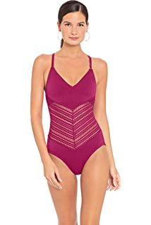3fe430429bb0f Robin Piccone Women's Mixed Crochet Over The Shoulder One Piece Swimsuit  Swimsuit