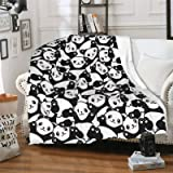 """CUAJH Cute Panda Blanket 50""""x60"""", Lightweight Soft Flannel Fleece Throw Blanket for Bed Couch Sofa Chair Office"""