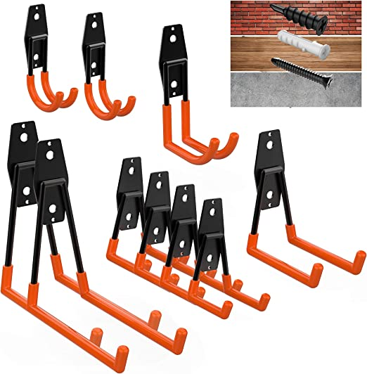 Hooks for Garage Storage Wall Mount for Ladder Bikes Ropes Garden Tool Hangers Folding Chair Garage Storage Hooks Heavy Duty Pack of 12 Garage Wall Hooks for Hanging to Stay Organized