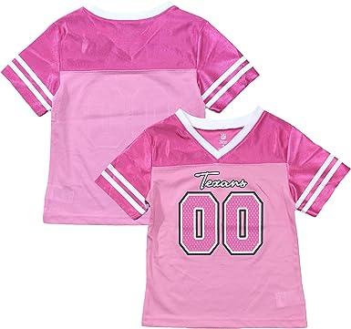 Outerstuff Houston Texans Logo #00 Pink Dazzle Girls Toddler Jersey