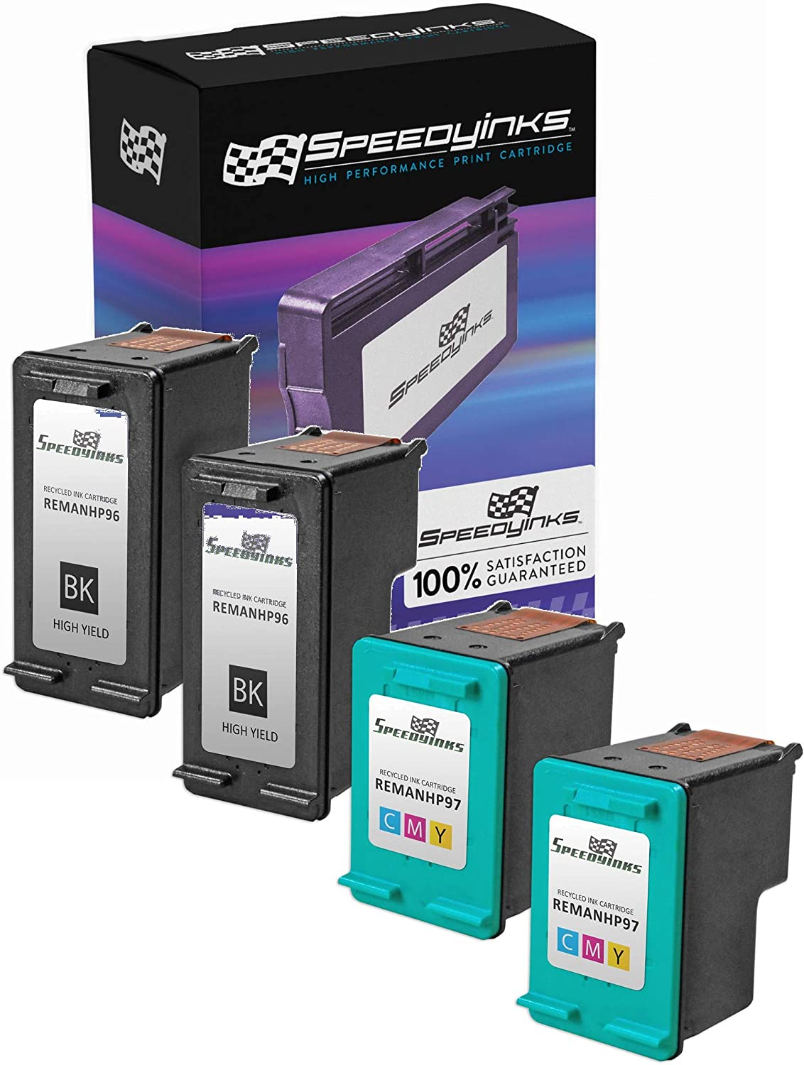 Speedy Inks Remanufactured Ink Cartridge Replacement for HP 96 and HP 97 (2 Black, 2 Color, 4-Pack)