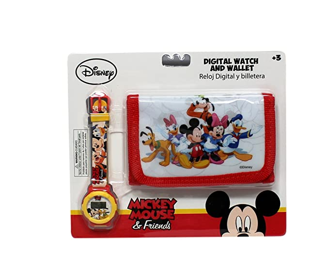 Reloj niño Disney Mickey Mouse Minnie Donald Dingo + cartera: Amazon.es: Relojes