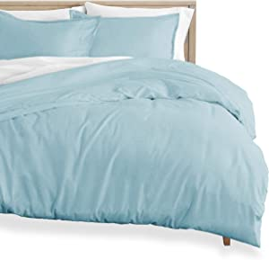 Bare Home Flannel Duvet Cover and Sham Set - Full/Queen - 100% Cotton, Velvety Soft Heavyweight, Double Brushed Flannel (Full/Queen, Light Blue)