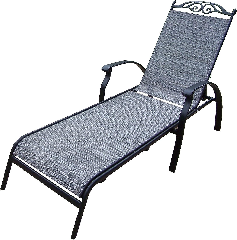 Oakland Living Cascade Sling Chaise Lounge, Black