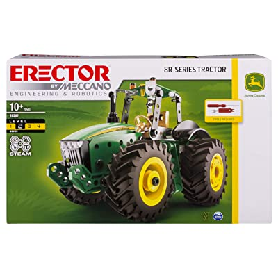 Meccano Erector John Deere 8R Tractor Building Kit with Working Wheels, STEM Engineering Education Toy for Ages 10 & Up: Toys & Games