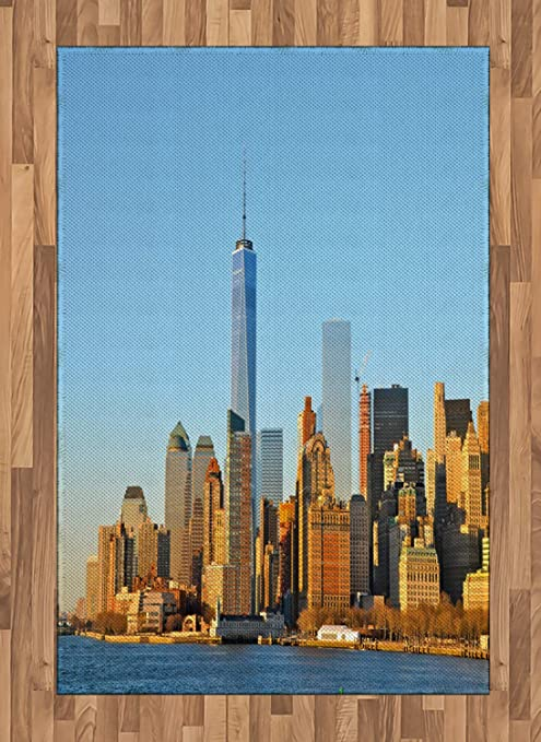 Ambesonne Landscape Area Rug New York City Skyline Usa Landmark Buildings Skyscrapers Modern Urban Life Flat Woven Accent Rug For Living Room Bedroom Dining Room 4 X 5 7 Pale Blue Orange