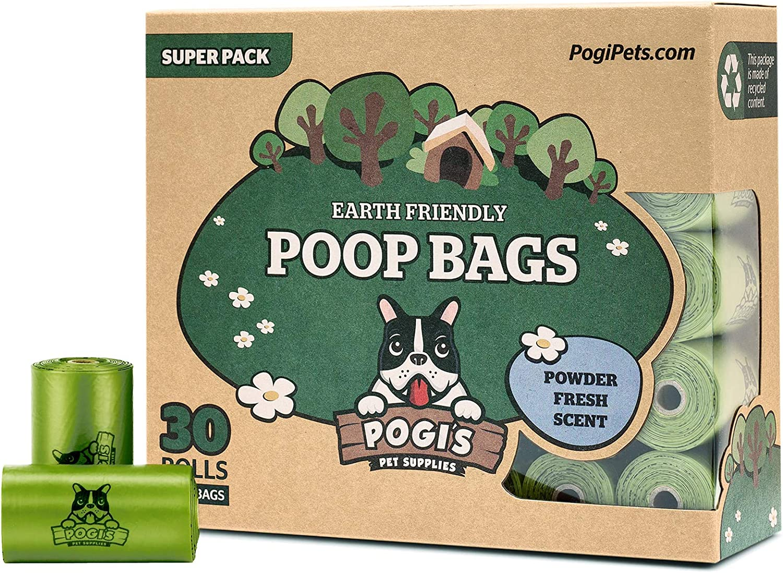 Pogi's Poop Bags - Bolsas para excremento de Perro - 30 Rollos (450 Bolsas) - Grandes, Biodegradables, Perfumadas, Herméticas